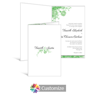 Floral Vines 5 x 7.875 Half-Fold Wedding Invitation