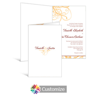 Ornate 5 x 7.875 Half-Fold Wedding Invitation