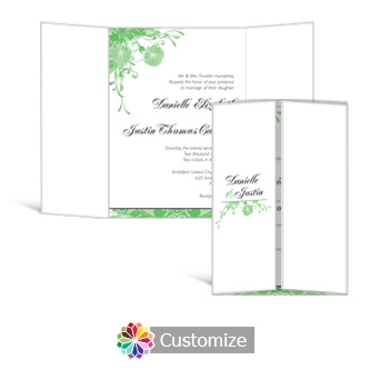 Floral Vines 5 x 7 Gate-Fold Wedding Invitation