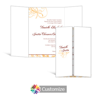 Ornate 5 x 7 Gate-Fold Wedding Invitation