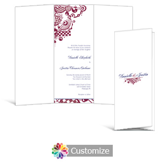 Checkered Orbs 3.625 x 8.875 Tri-Fold Wedding Invitation