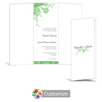 Floral Vines 3.625 x 8.875 Tri-Fold Wedding Invitation