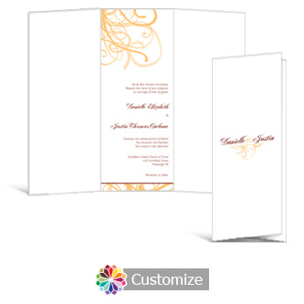 Ornate 3.625 x 8.875 Tri-Fold Wedding Invitation