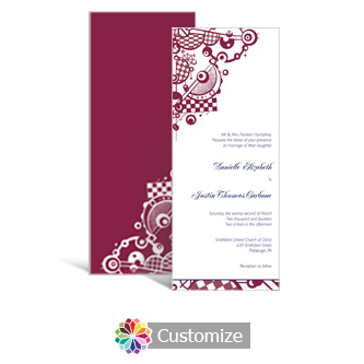Checkered Orbs 3.625 x 8.875 Tea-Length Wedding Invitation