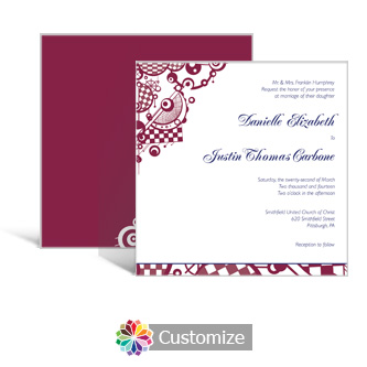 Checkered Orbs 5.875 x 5.875 Square Wedding Invitation
