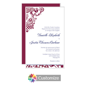 Checkered Orbs 5 x 7.875 Flat Card Wedding Invitation