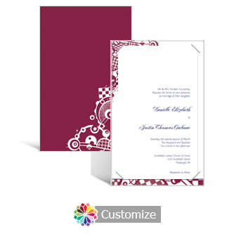 Checkered Orbs 5 x 7.875 Layered Rectangle w/Vellum Wedding Invitation