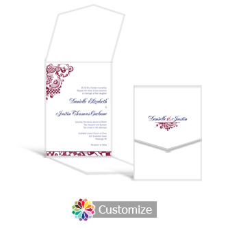 Checkered Orbs 5.25 x 7.25 Vertical Gate-Fold Wedding Invitation