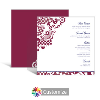 Checkered Orbs 5.875 x 5.875 Square Wedding Menu