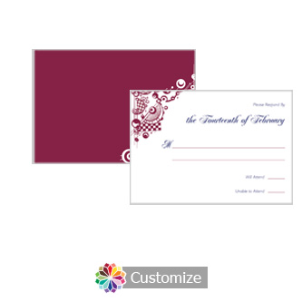 Checkered Orbs 5 x 3.5 RSVP Enclosure Card - Reception