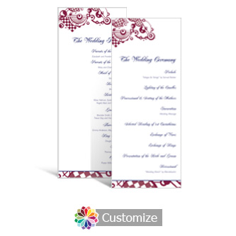 Checkered Orbs 3.625 x 8.875 Tea-Length Wedding Program