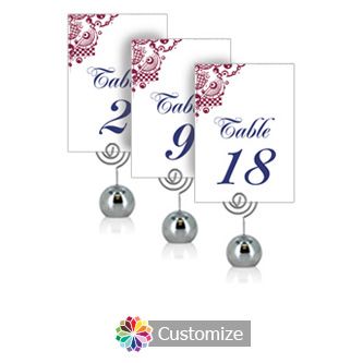 Checkered Orbs 3.5 x 5 Flat Wedding Table Number for Stand