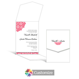 Bold Geometric 5.25 x 7.25 Vertical Gate-Fold Wedding Invitation