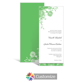 Floral Vines 3.625 x 8.875 Tea-Length Wedding Invitation