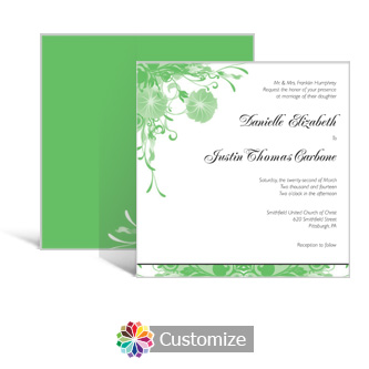 Floral Vines 5.875 x 5.875 Square Wedding Invitation