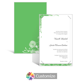 Floral Vines 5 x 7.875 Layered Rectangle w/Vellum Wedding Invitation