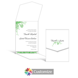 Floral Vines 5.25 x 7.25 Vertical Gate-Fold Wedding Invitation