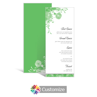 Floral Vines 3.625 x 8.875 Tea-Length Wedding Menu