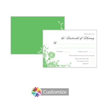 Floral Vines 5 x 3.5 RSVP Enclosure Card - Dinner Choice