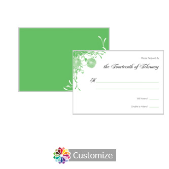 Floral Vines 5 x 3.5 RSVP Enclosure Card - Reception