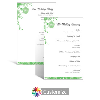 Floral Vines 5 x 7.875 Flat Wedding Program