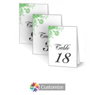 Floral Vines 3.5 x 5 Large Wedding Folded Table Number