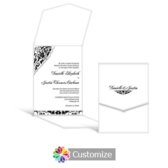 Ivy Lace 5.25 x 7.25 Vertical Gate-Fold Wedding Invitation