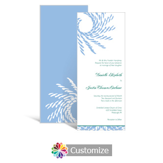 Spiral Wave 3.625 x 8.875 Tea-Length Wedding Invitation