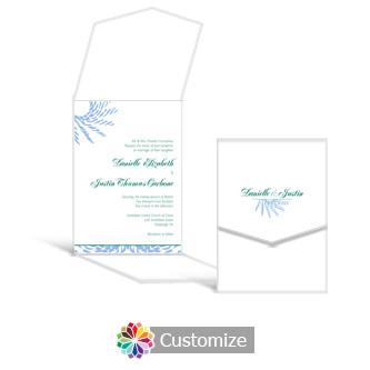 Spiral Wave 5.25 x 7.25 Vertical Gate-Fold Wedding Invitation