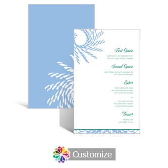Spiral Wave 5 x 7.875 Rectangle Flat Wedding Menu