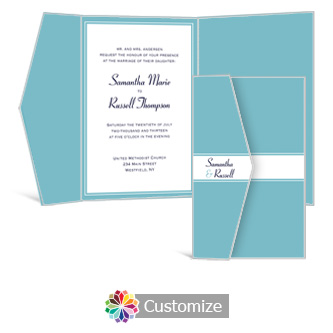 Classical 5  x 7.875 Double Folded Wedding Invitation
