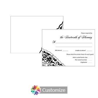 Ivy Lace 5 x 3.5 RSVP Enclosure Card - Dinner Choice