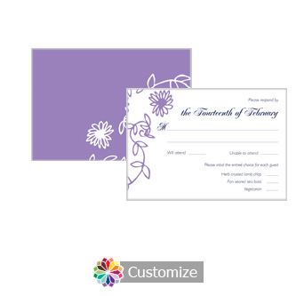 Lilac Flowers 5 x 3.5 RSVP Enclosure Card - Dinner Choice