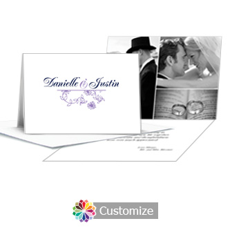 Lilac Flowers Thank You Card With Photo and Custom Greeting