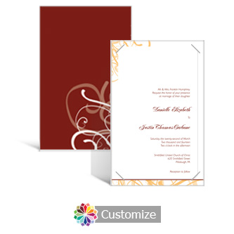 Ornate 5 x 7.875 Layered Rectangle w/Vellum Wedding Invitation