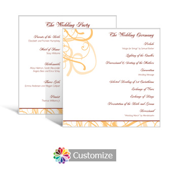 Ornate 5.875 x 5.875 Square Wedding Program