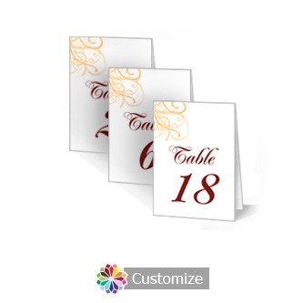 Ornate 2.5 x 3.5 Folded Wedding Table Number