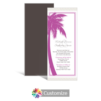 Caribbean Beach 3.625 x 8.875 Tea-Length Wedding Invitation
