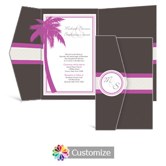 Caribbean Beach 5 w x 7.875 Double Folded Wedding Invitation
