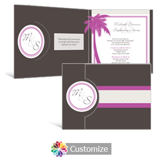 Caribbean Beach 7.25 x 5.125 Folded Wedding Invitation