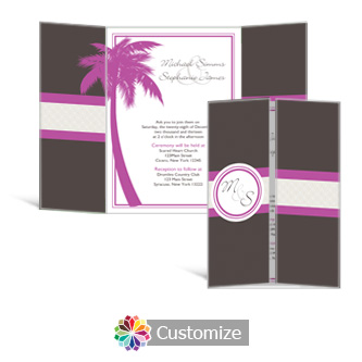 Caribbean Beach 5 x 7 Gate-Fold Wedding Invitation