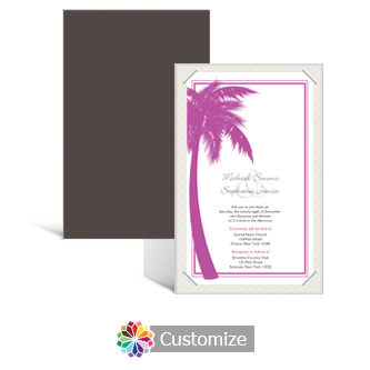 Caribbean Beach 5 x 7.875 Layered Rectangle w/Vellum Wedding Invitation
