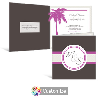 Caribbean Beach 6 x 6 Square Folded Wedding Invitation