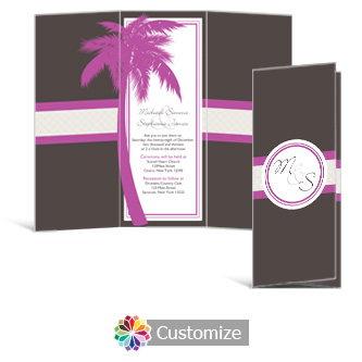 Caribbean Beach 3.625 x 8.875 Tri-Fold Wedding Invitation
