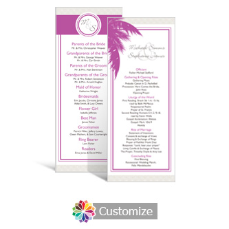 Caribbean Beach 3.625 x 8.875 Tea-Length Wedding Program