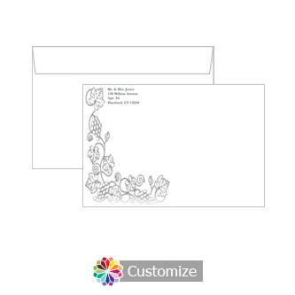 Custom Design Iron Vine Envelopes for Wedding Invitations
