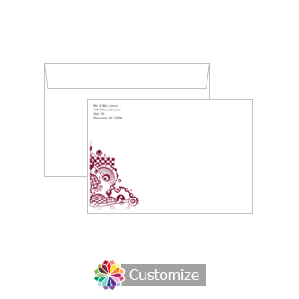 Personalized Checkered Orbs Envelopes for Wedding Thank You Card