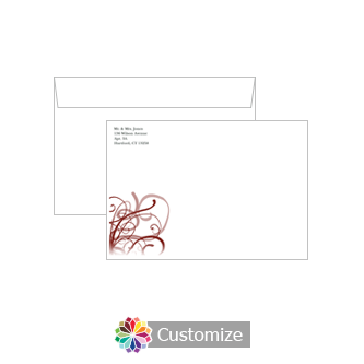 Custom Ornate Ribbons Envelopes for Wedding Thank You Card