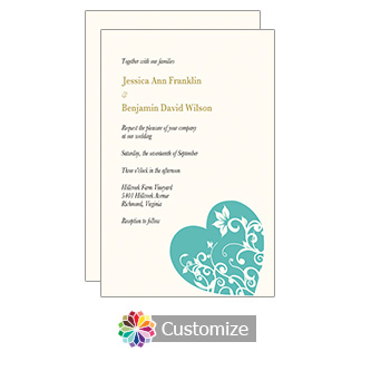Hearts 5 x 7.875 Turquoise Flat Wedding Invitation Card