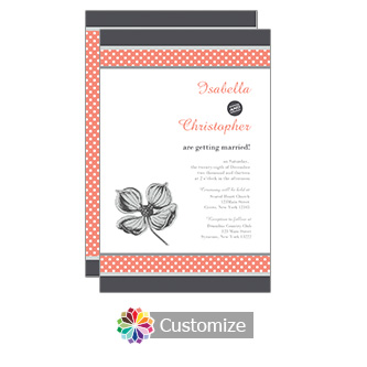 Coral Polka 5 x 7.875 Flat Card Wedding Invitation